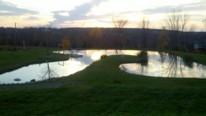 fall pond sunset