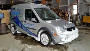 Plowing thru drifts in the van.